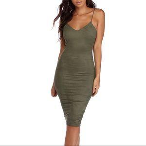 Windsor Faux Suede Green Bodycon Midi Dress
